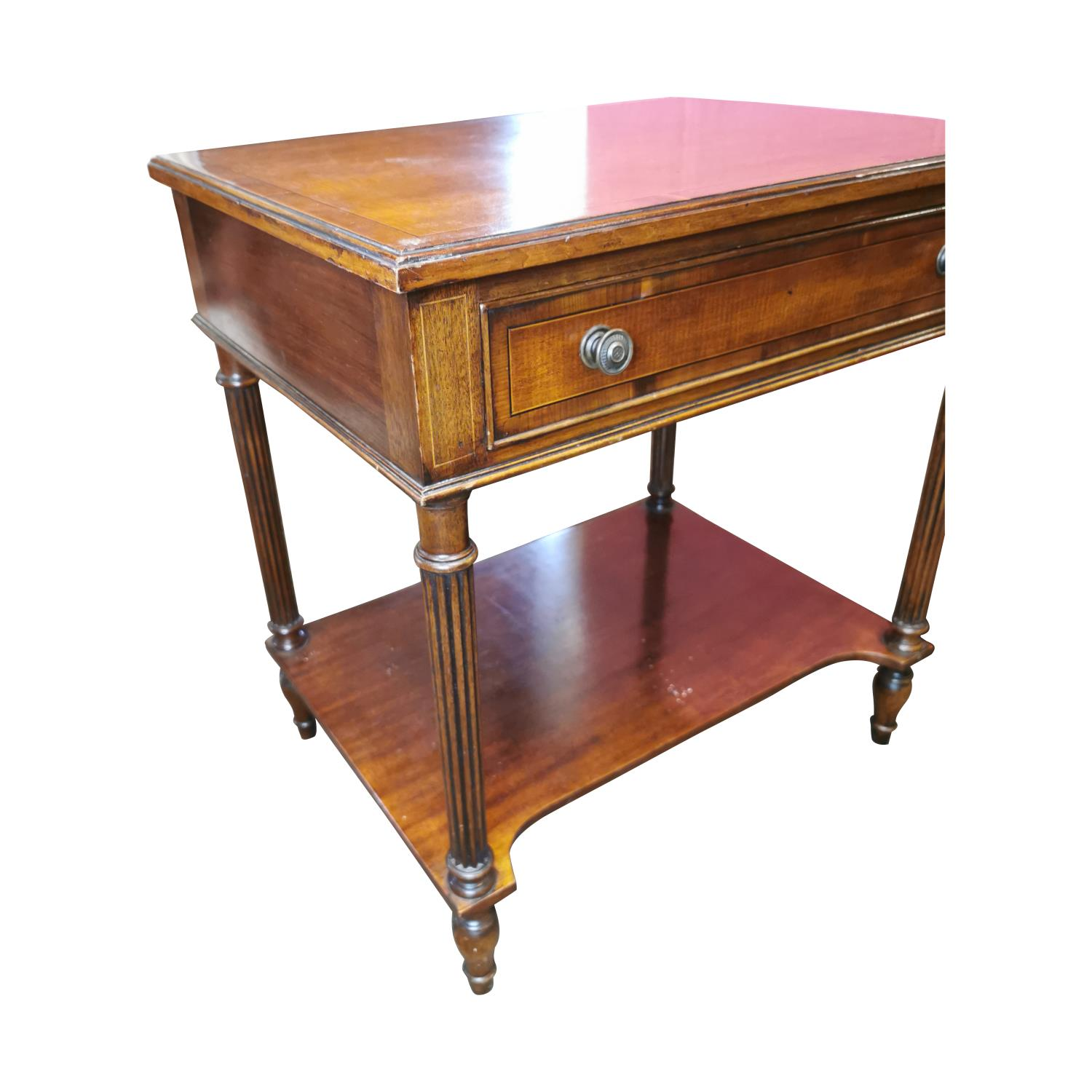 Pair of inlaid mahogany two tier lamp tables - Image 2 of 3