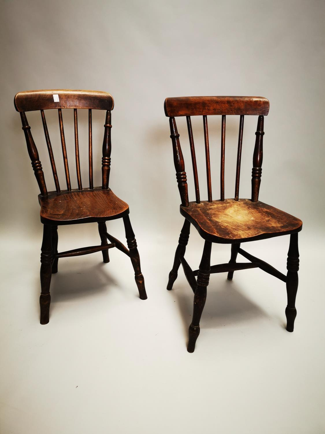 Pair of 19th C. pine and elm kitchen chairs