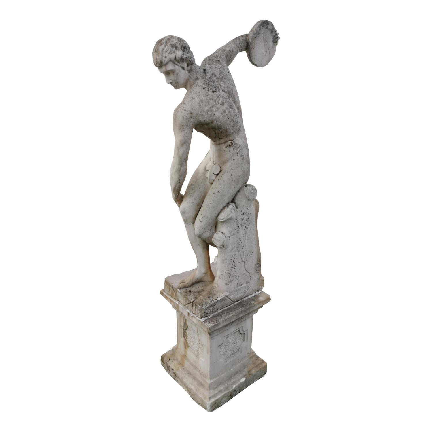 Moulded stone statue of Greek Disc Thrower - Image 5 of 5