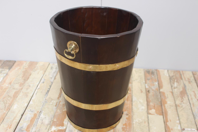 Brass bound chestnut wood peat bucket