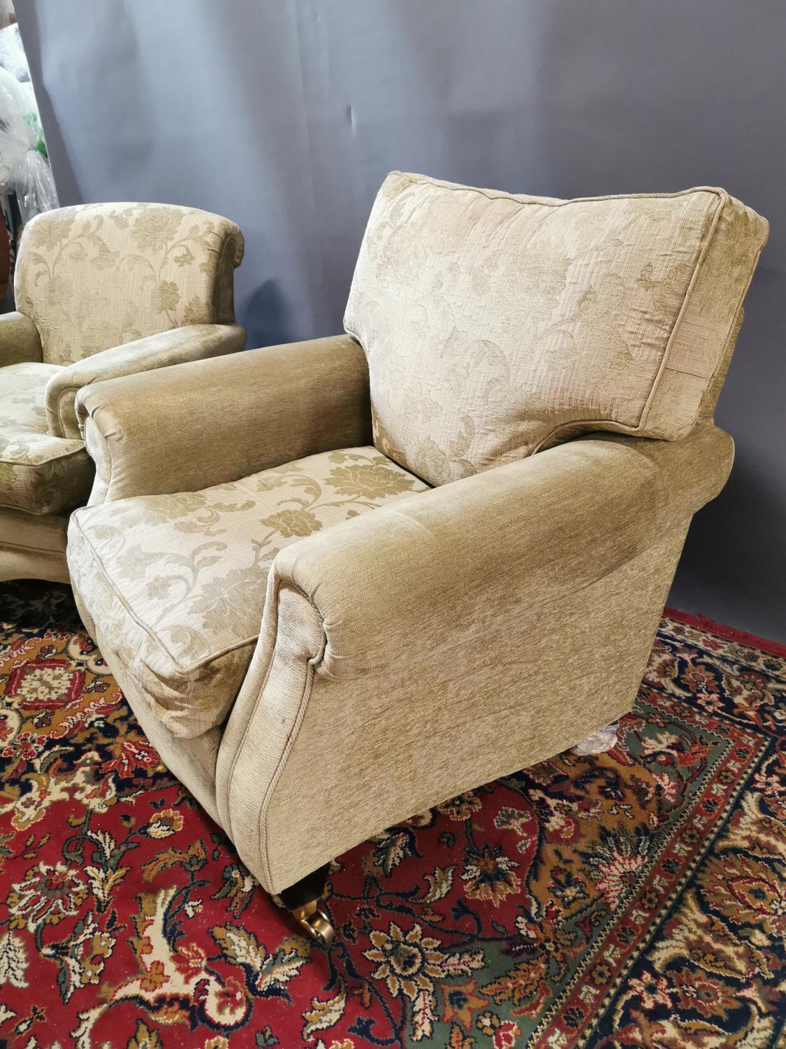 Near pair of upholstered armchairs - Image 4 of 4