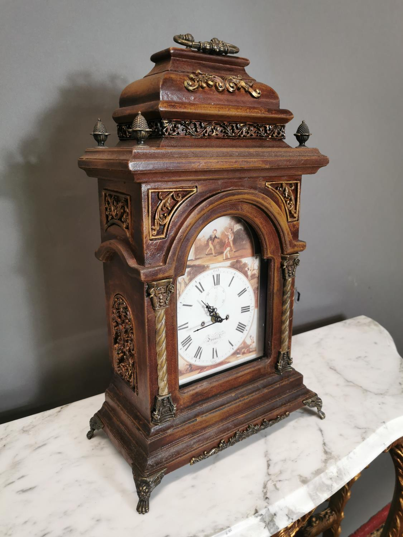 Gilded walnut mantle clock - Image 2 of 2