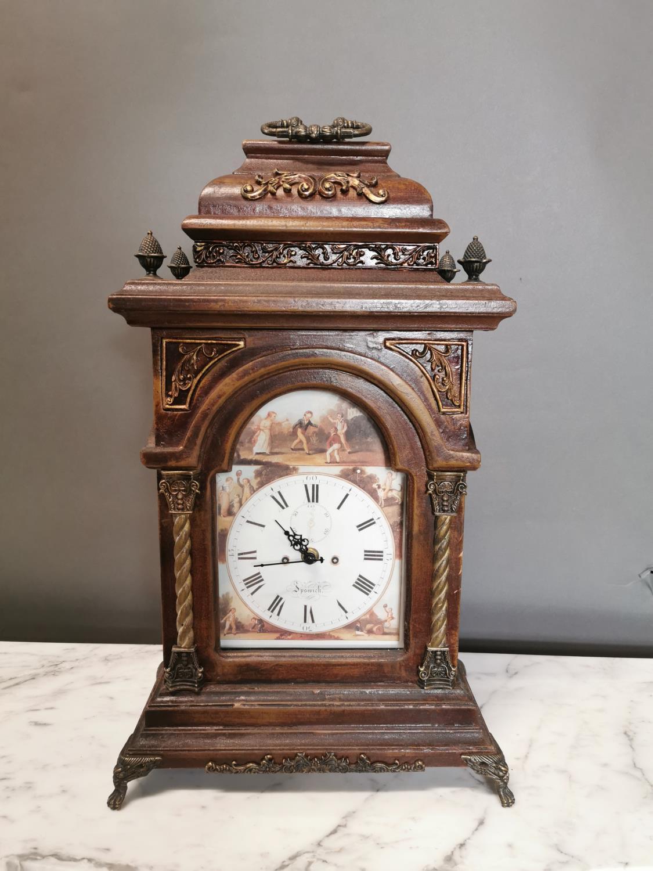 Gilded walnut mantle clock