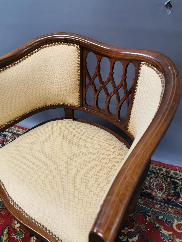 Edwardian upholstered inlaid mahogany armchair - Image 2 of 3