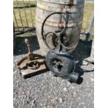 Cast iron book press and bellows.