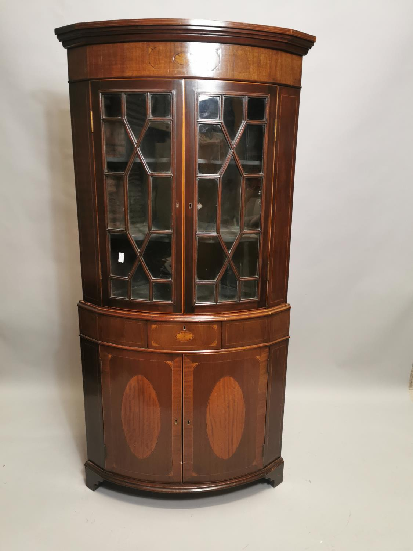 Georgian inlaid mahogany bow fronted corner cabinet