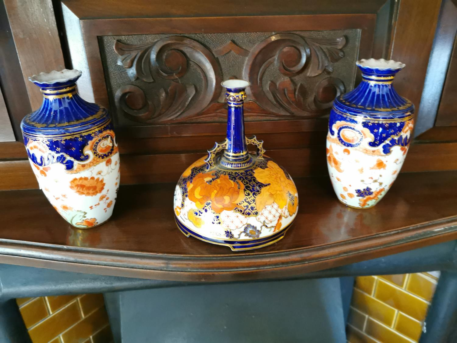 Pair of vases and R scent bottle
