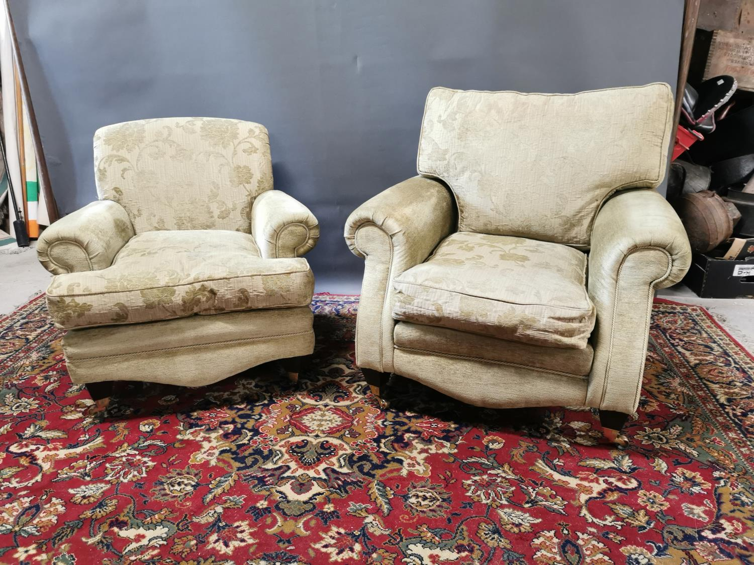 Near pair of upholstered armchairs