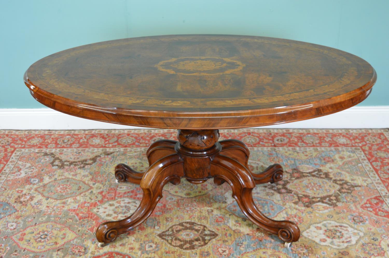 19th. C. walnut inlaid centre table