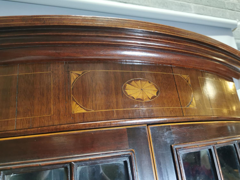 Georgian inlaid mahogany bow fronted corner cabinet - Image 3 of 7