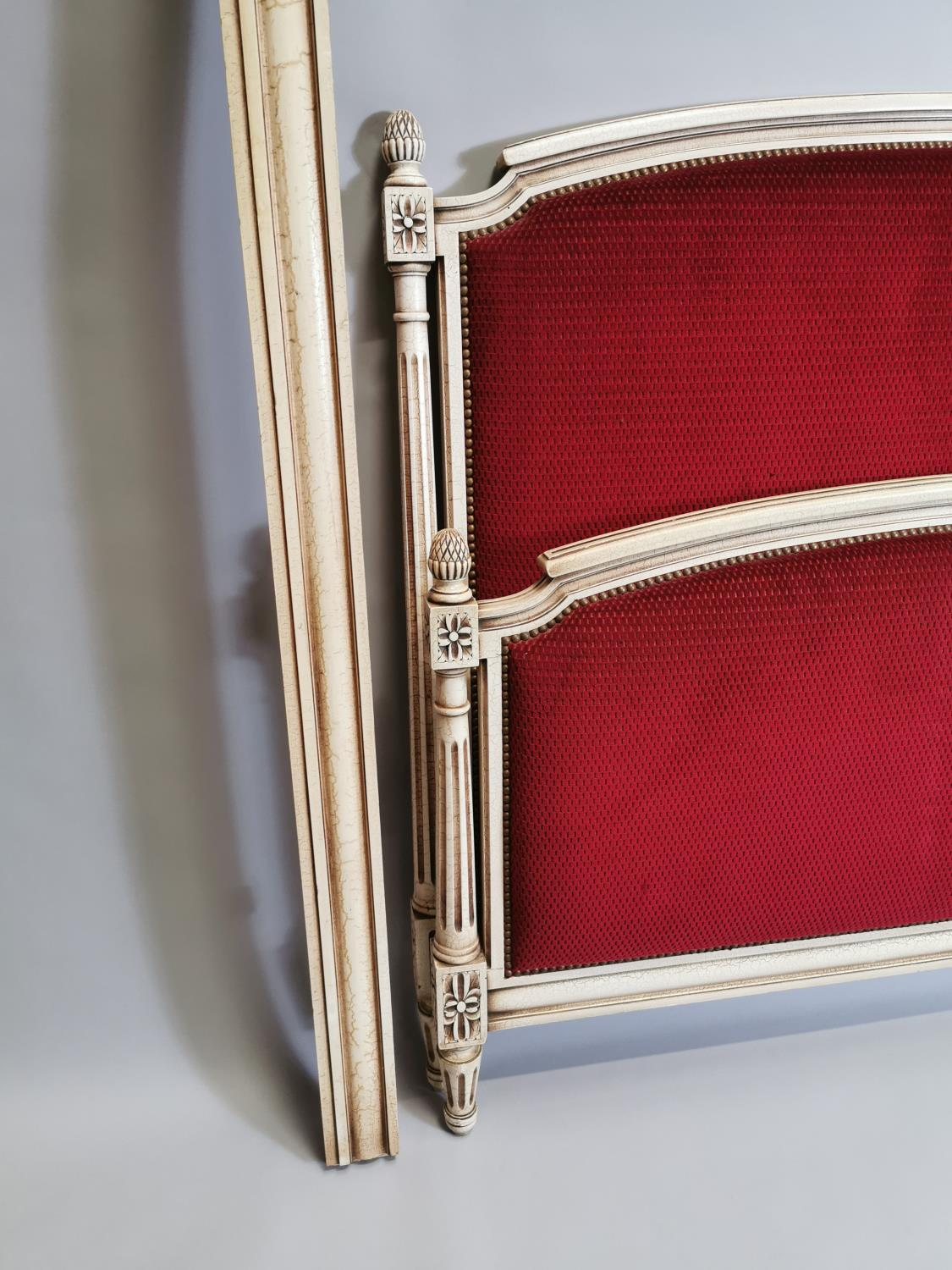 French painted and upholstered bed - Image 7 of 7