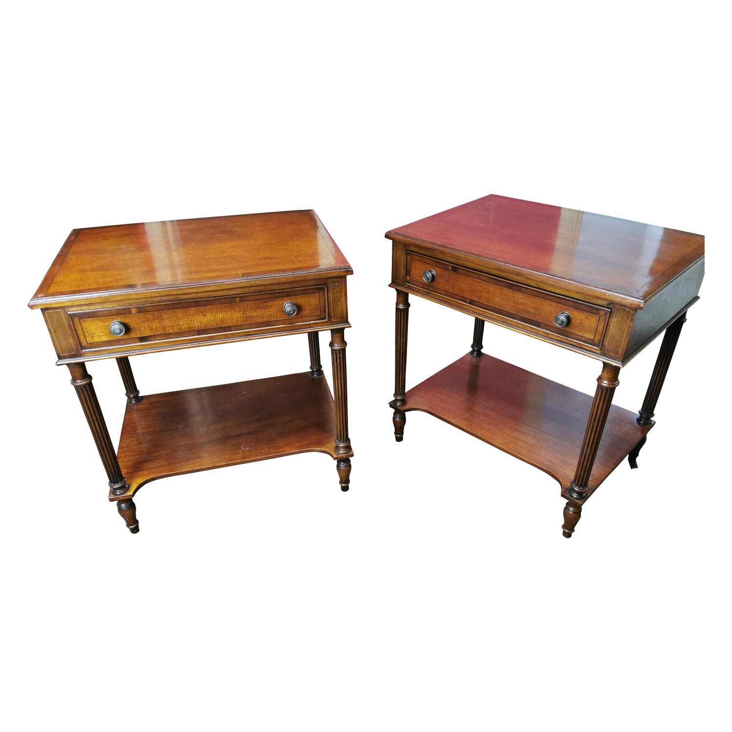 Pair of inlaid mahogany two tier lamp tables
