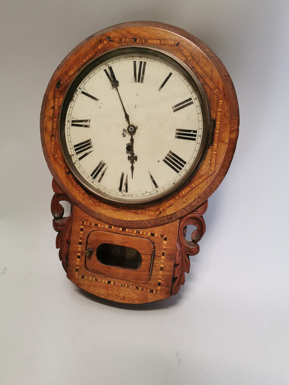 19th. C. inlaid walnut drop dial wall clock.