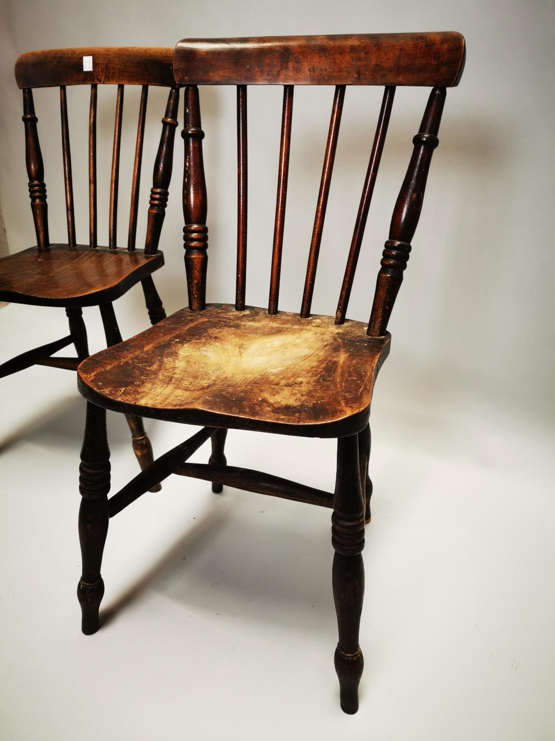 Pair of 19th C. pine and elm kitchen chairs - Image 6 of 8