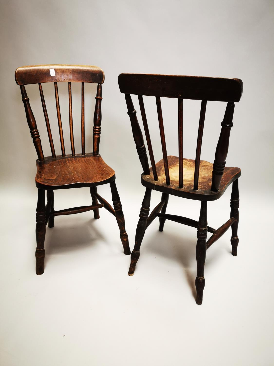 Pair of 19th C. pine and elm kitchen chairs - Image 7 of 8