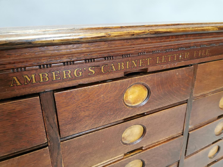 Rare Art Deco oak bank of fifteen drawers - Image 4 of 8