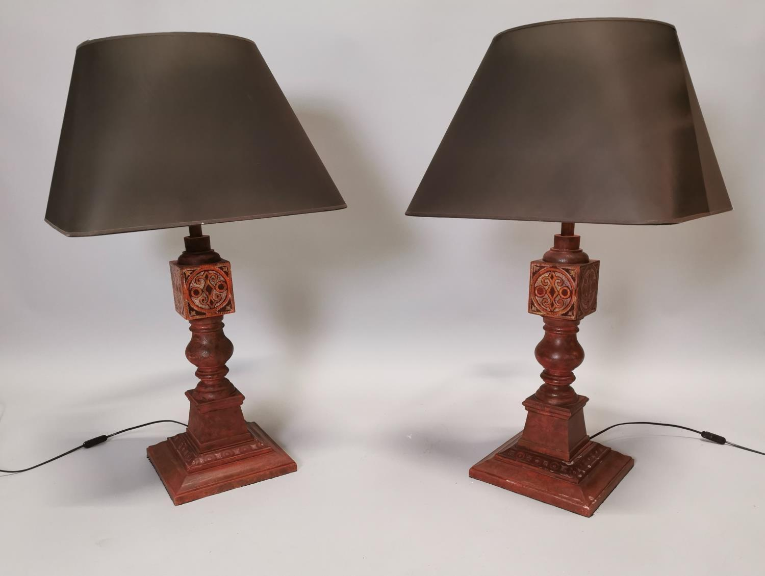 Pair of hand painted pine table lamps