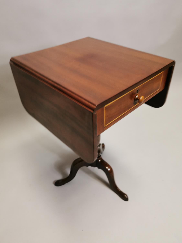 Georgian mahogany double drop leaf lamp table - Image 3 of 7