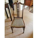 Edwardian inlaid mahogany bedroom chair