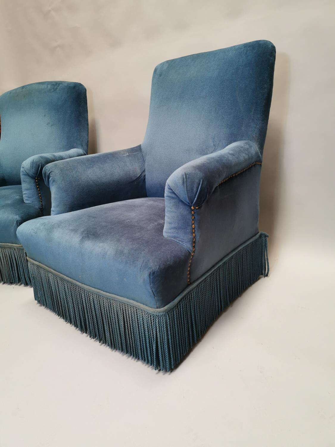 Pair of 19th C. mahogany arm chairs upholstered in blue crush velvet 94 cm H x 80 cm W x 80 cm D - Image 2 of 3