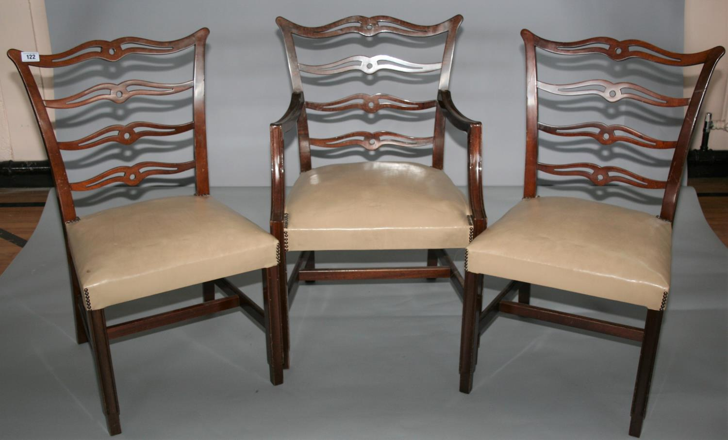 Set of three Hepplewhite design dining chairs and writing table with two drawers 120W x 75H x 67D.
