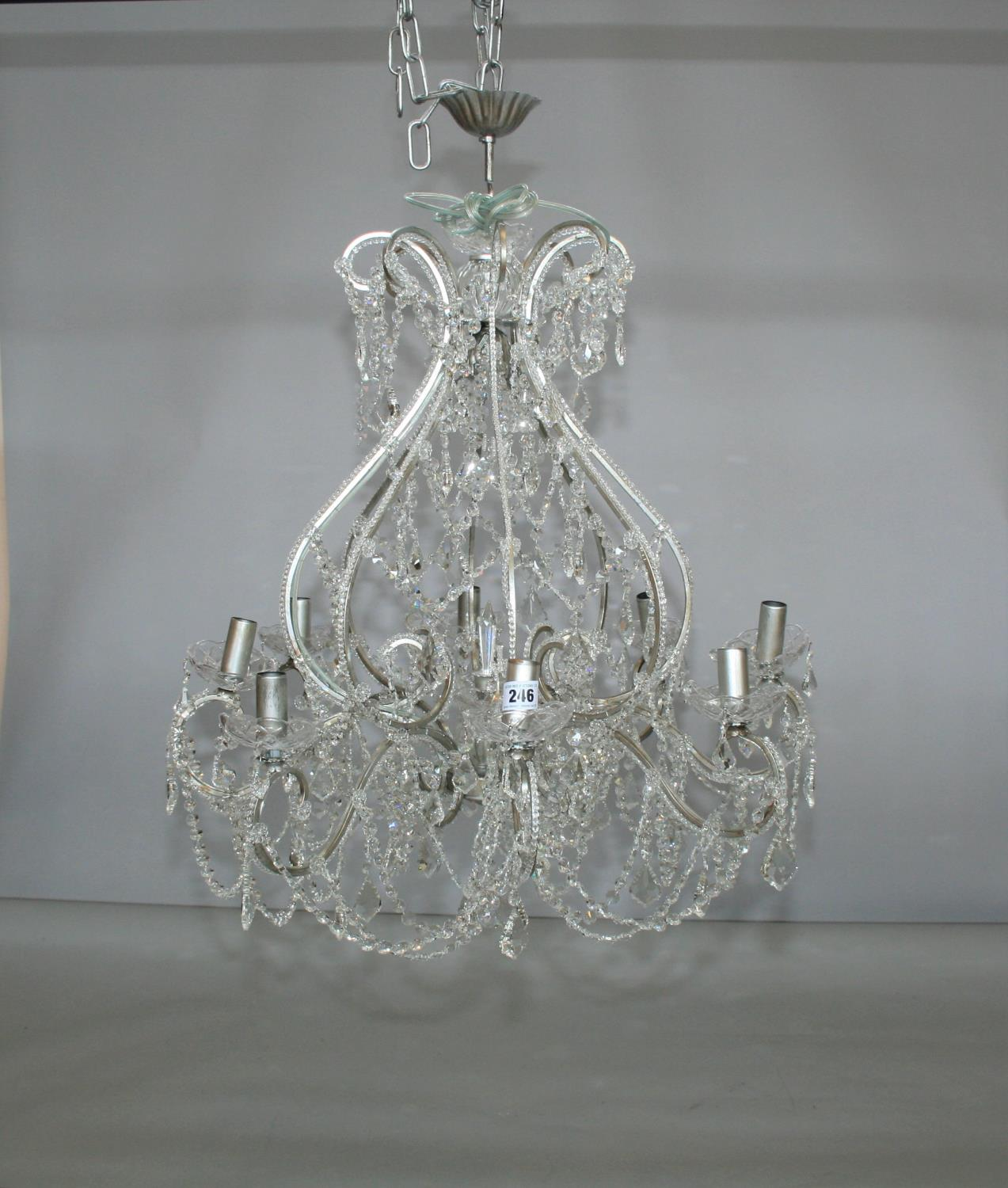 As new quality silver framed crystal 8 branch chandelier. 80W x 100H - Image 3 of 3