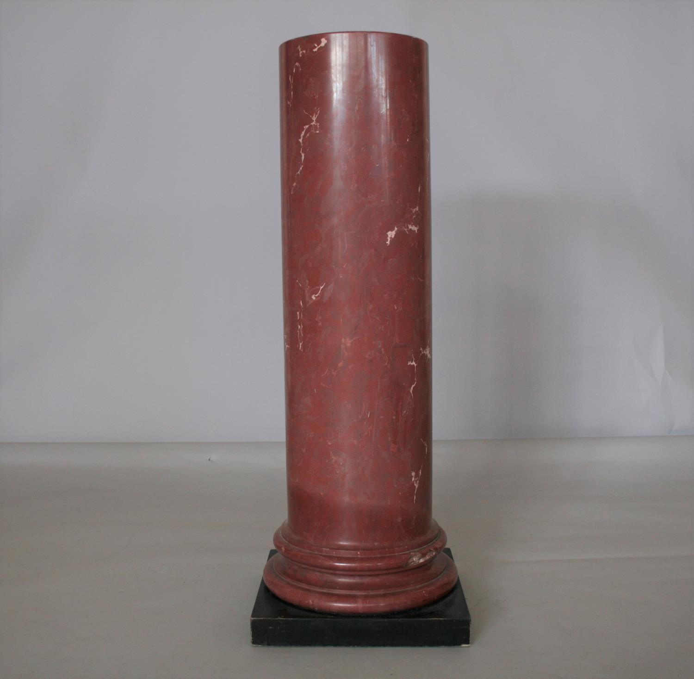 Superb rouge marble column on ebonised plinth. 42W x 120H