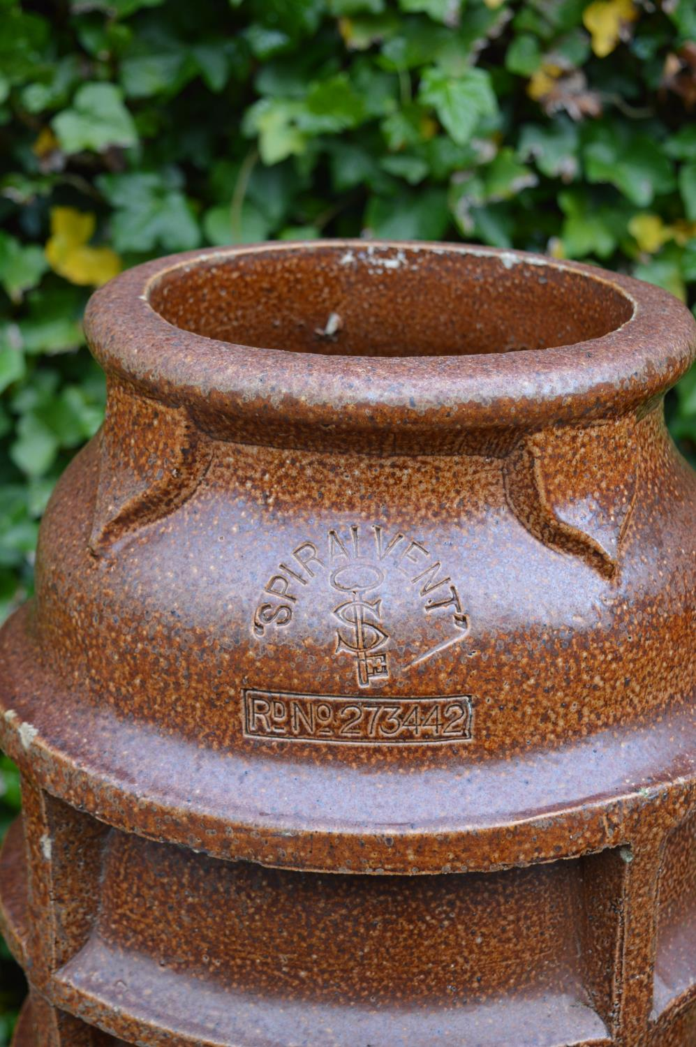 Pair terracotta chimney pots stamped Spiralvent. 36W 122H - Image 2 of 4