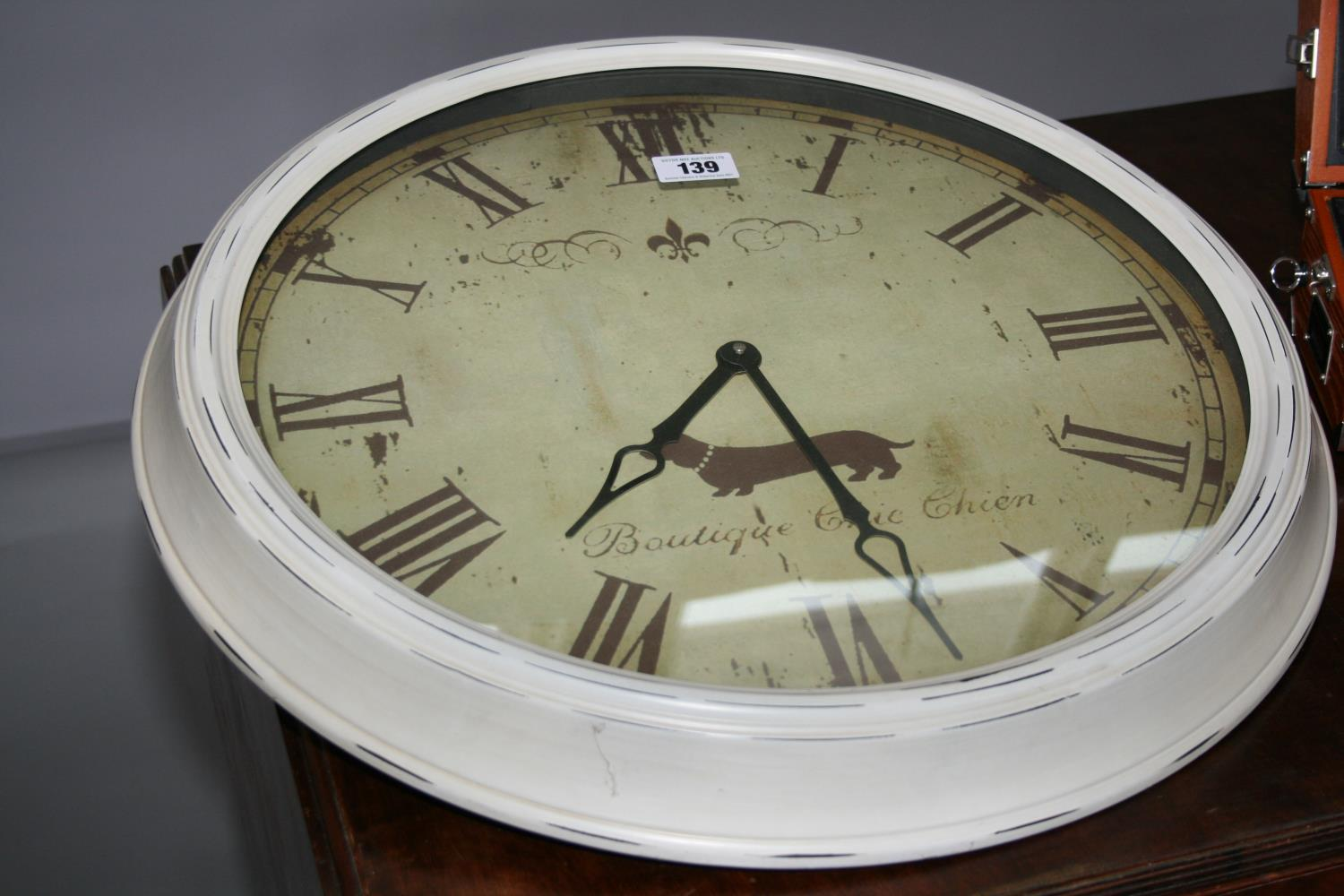 French vintage style wall clock (63W) and vintage design radio alarm clock (26W x 20H x 14D) - Image 3 of 3