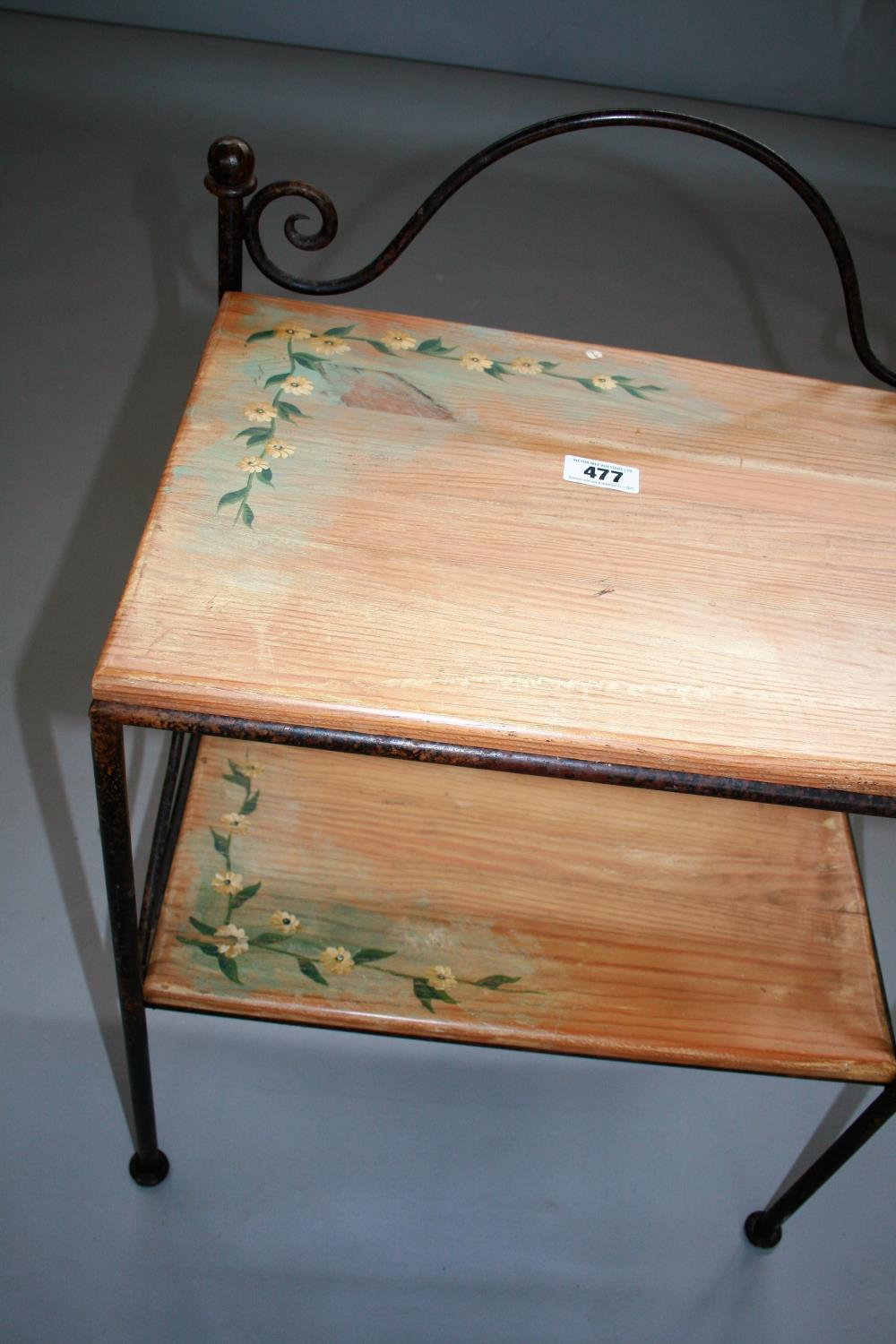 Wrought iron and painted wood two tier shelf and two pairs of bed side lockers 54W x 41H x 38D - Image 6 of 6