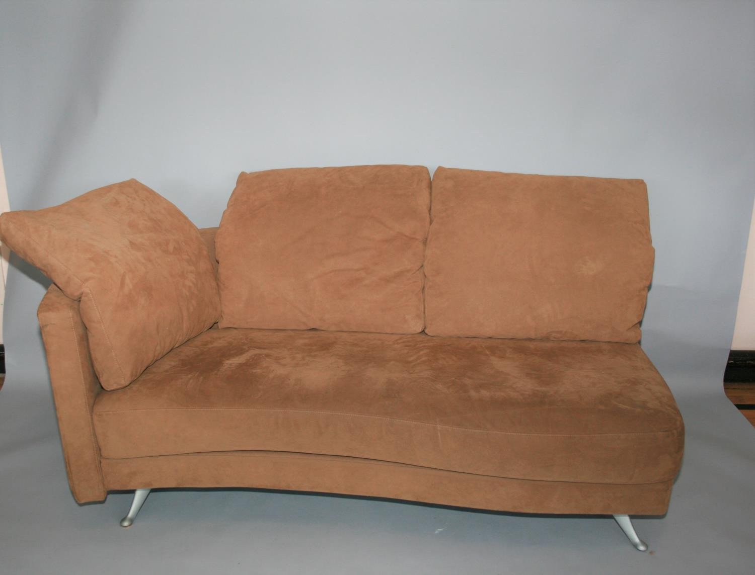 Rolf Benz suede covered sofa and matching foot stool 180 W x 70 H x 85 D - Image 2 of 3