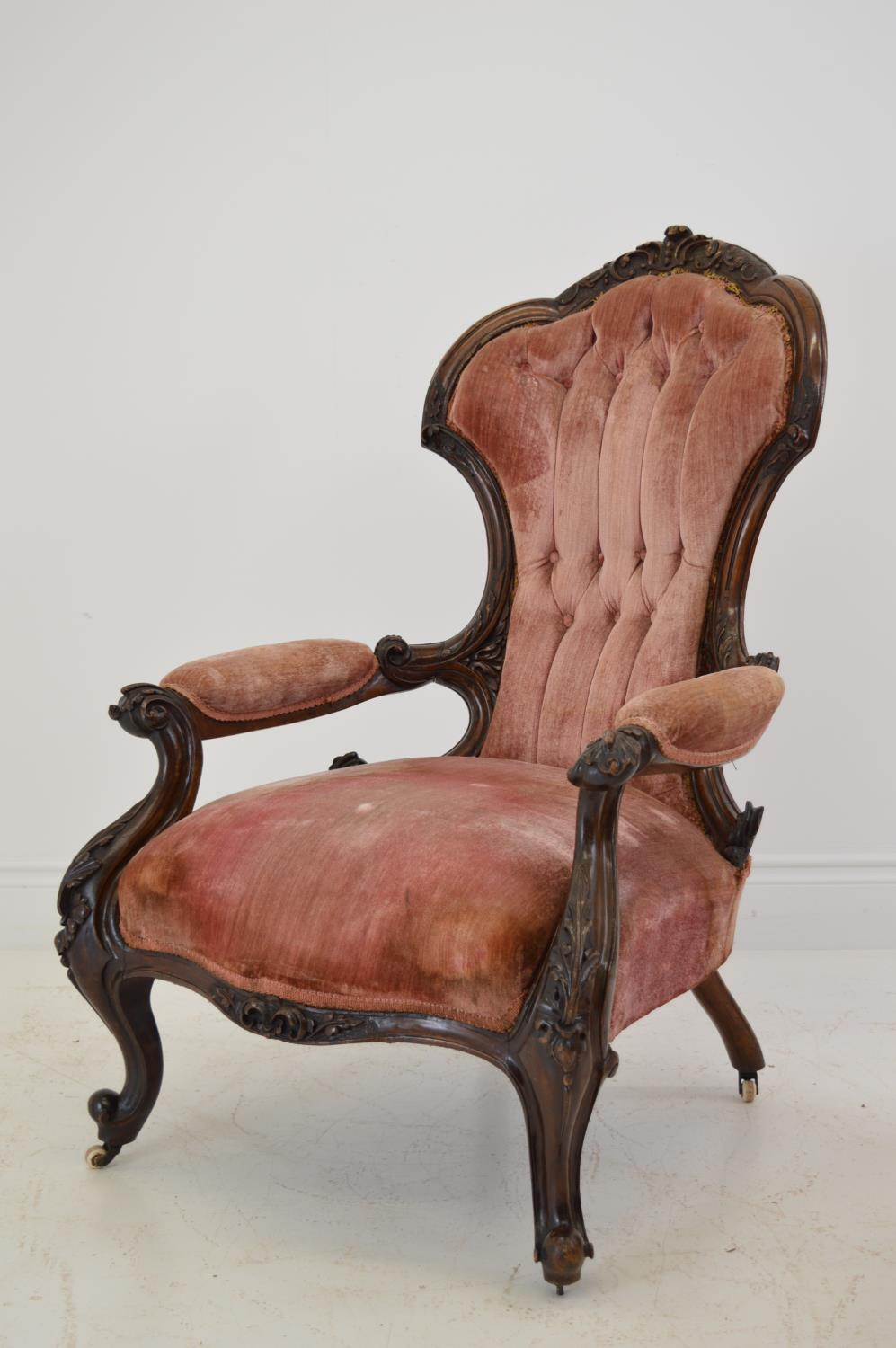 Pair of quality carved mahogany cabriole leg chairs. 70W 106H - Image 2 of 4