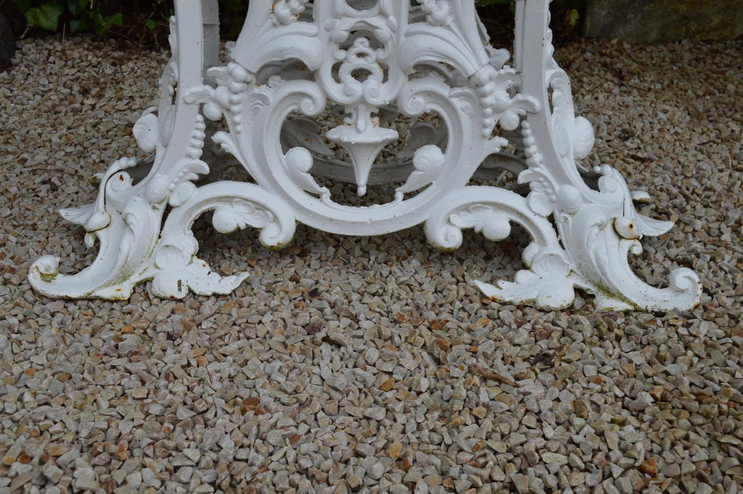 Cast iron garden table marble top in the Coalbrookdale style. 90W 75H 36D - Image 3 of 3