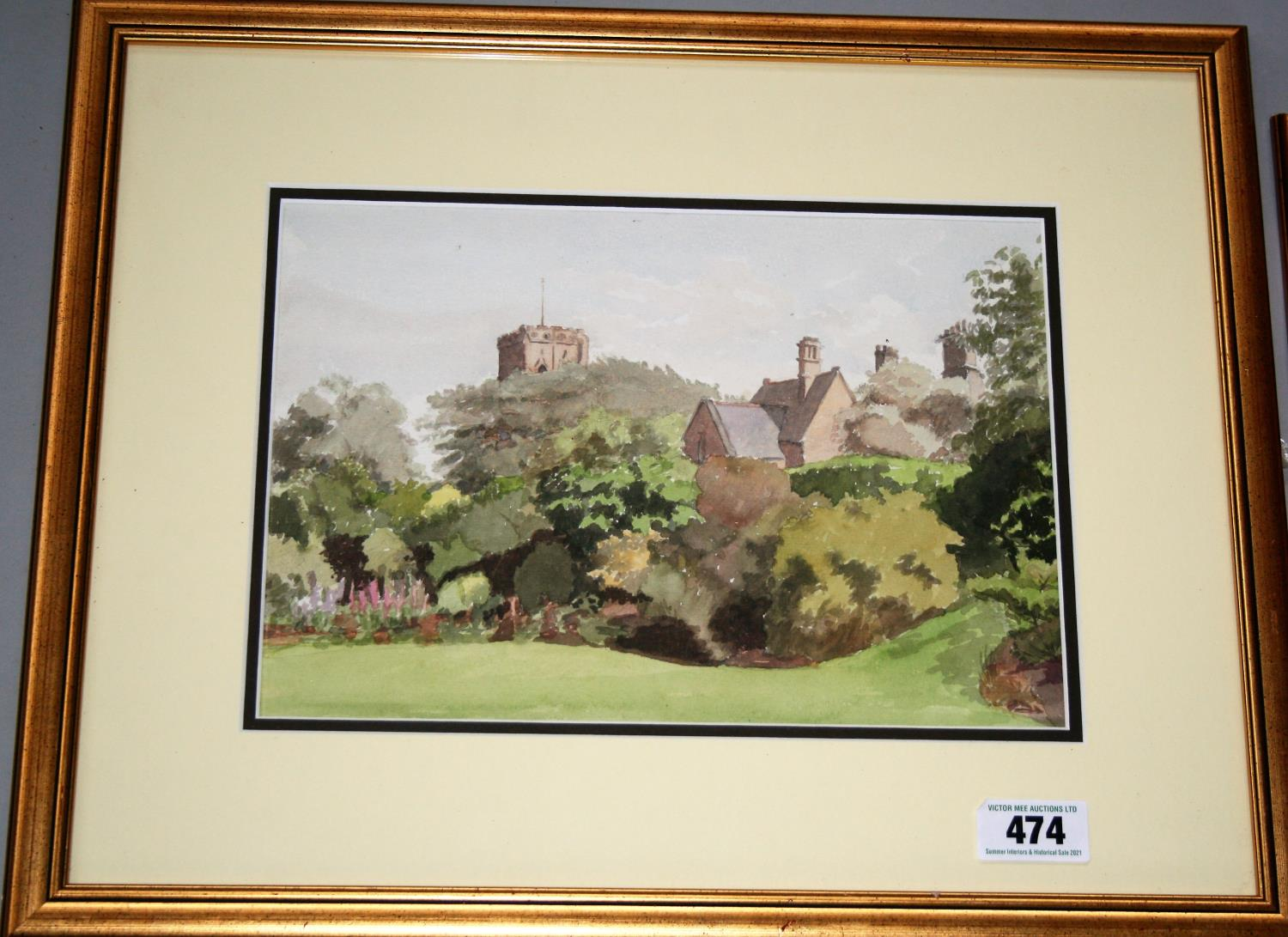 """Jose Irwin two gold framed watercolours - """"A village school & church"""" 53W x 43H and """"Mount Irwin"""" - Image 3 of 3"""