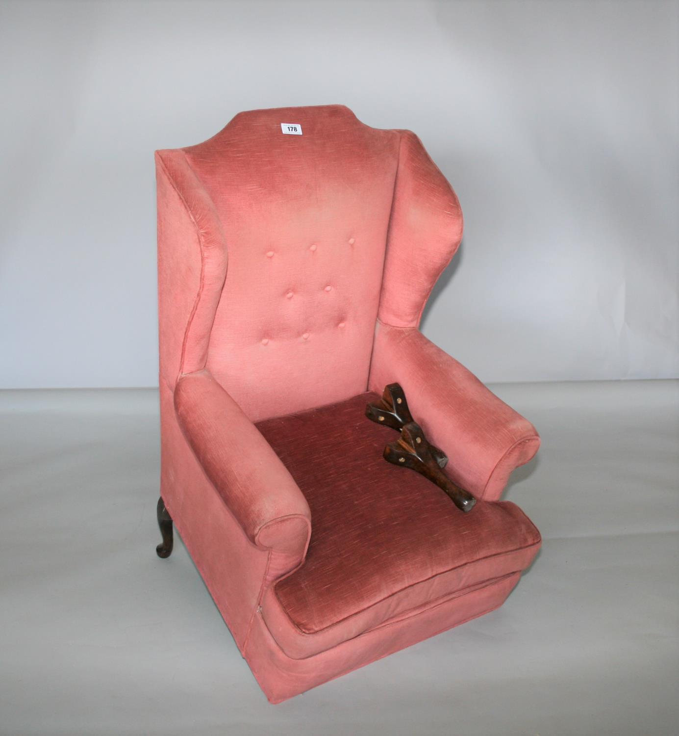 Queen Ann style wing back chair (as found) 75W x 120H x 75D
