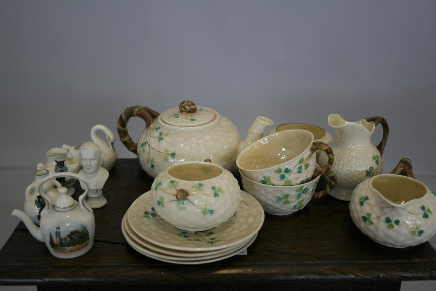 Part Belleek tea set and other Belleek items and other items.