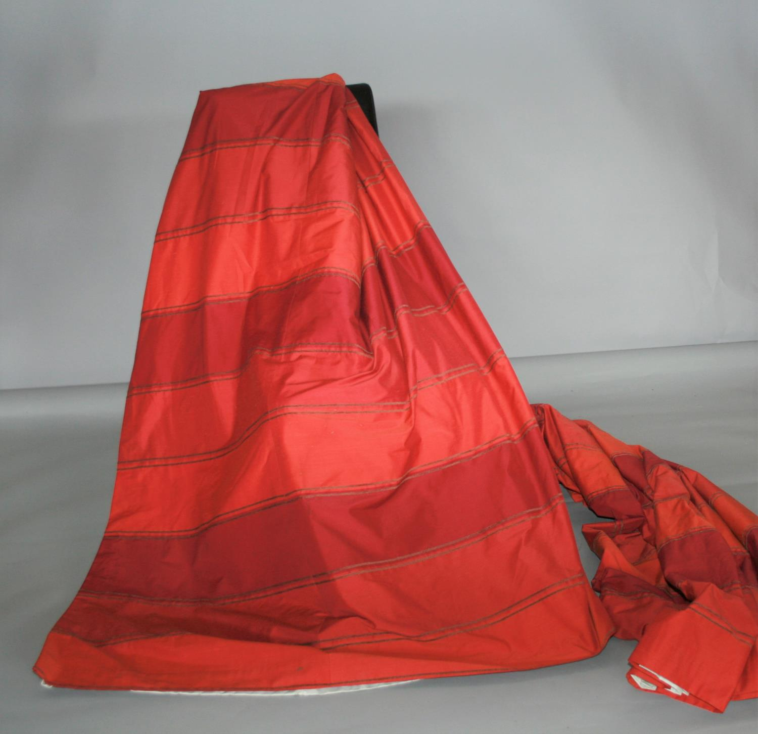 Two pairs of red curtain, striped pattern 110W x 210H approx. each.