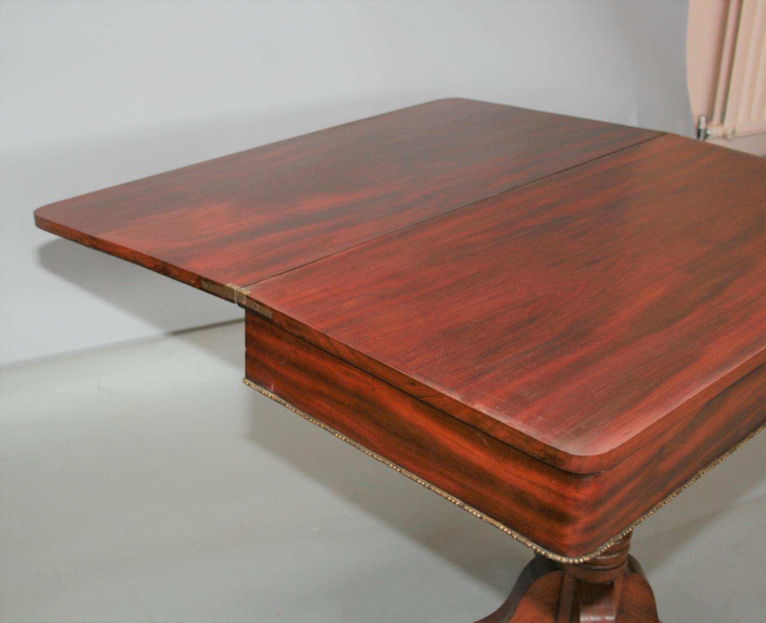 Fine Regency mahogany fold over tea table, the top with Rosewood cross banding and frieze with ebony - Image 3 of 4