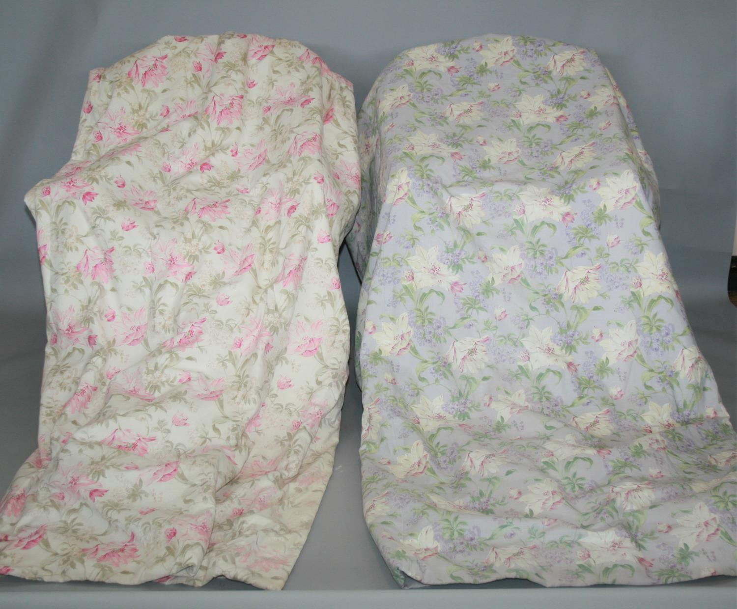 Two pairs lined curtains with floral pattern (1st pair lilac colour & 2nd pair pink) 300 W x 260 H