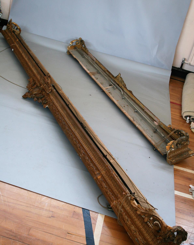 19th Century gilt decorative pelmet (as found). 410 long.