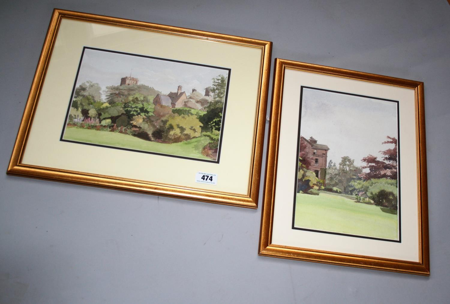 """Jose Irwin two gold framed watercolours - """"A village school & church"""" 53W x 43H and """"Mount Irwin"""""""