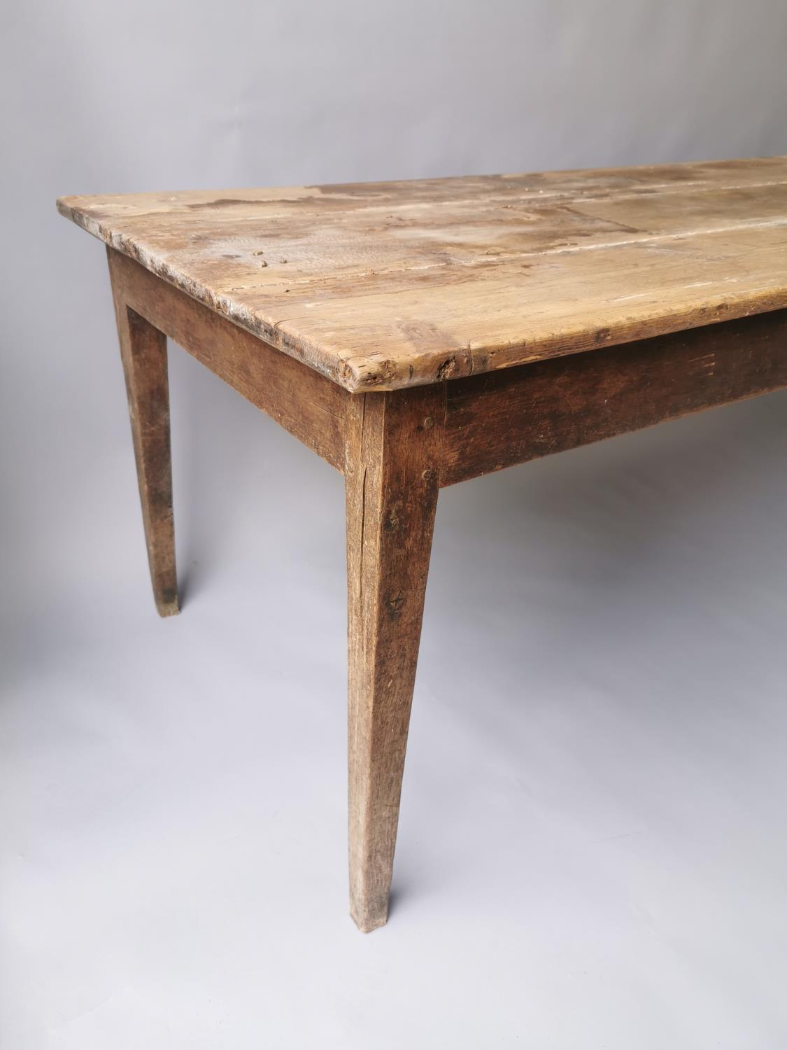19th C. pine and oak kitchen table on square tapered legs 70 cm H x 198 cm L x 79 cm D - Image 2 of 5