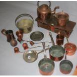 Good collection of copper saucepans etc.