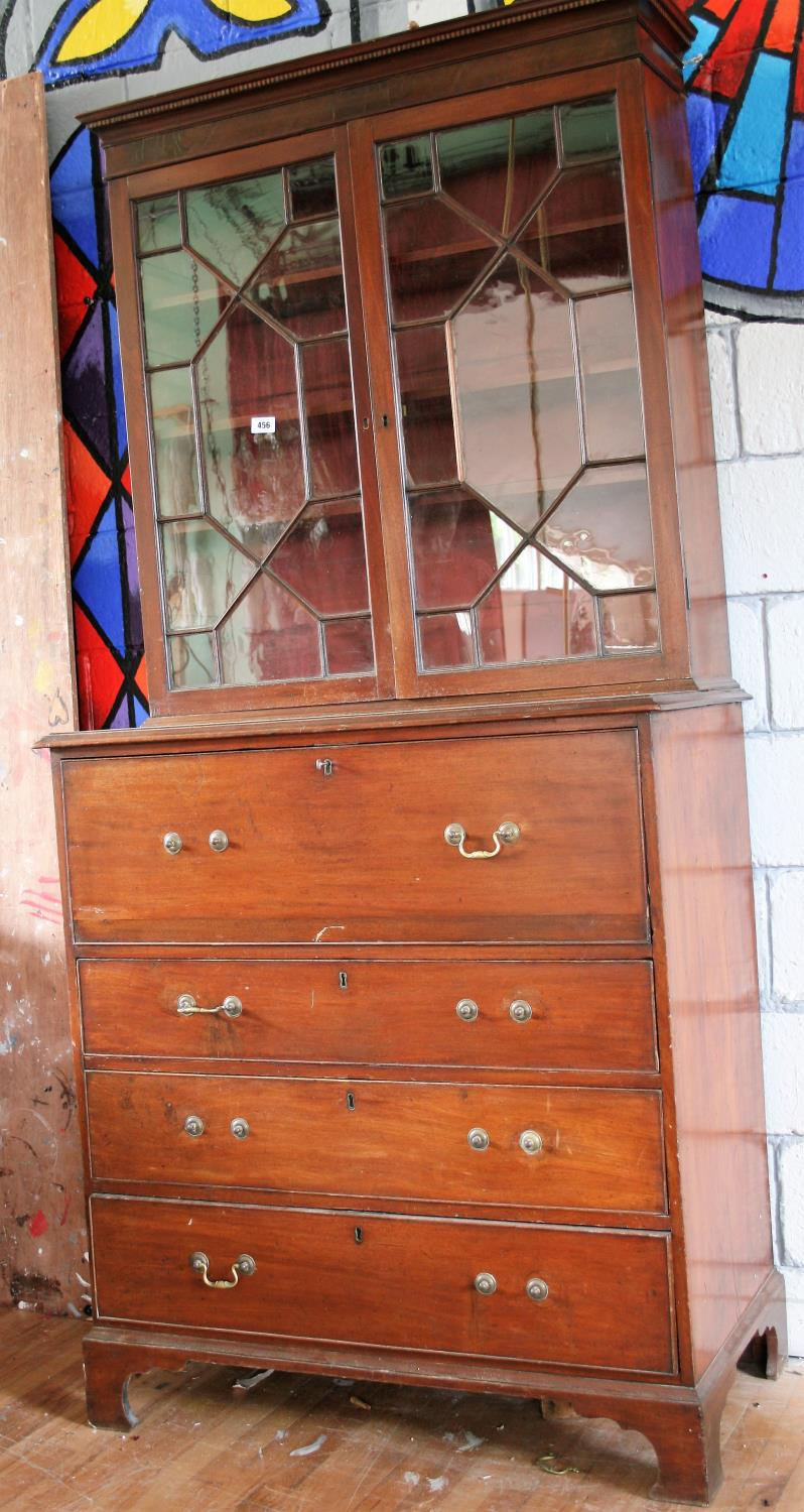 Georgian mahogany secretaire book case the astragal above secretaire and 3 long graduated drawers.