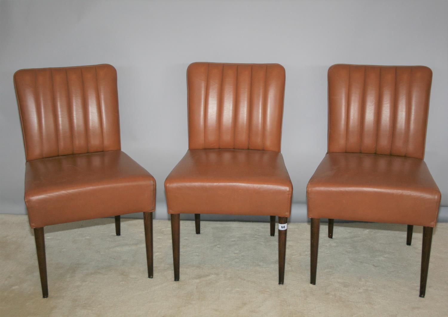 Set of three stylish brown leather ribbed back chairs 18 W x 34 H x 18 D