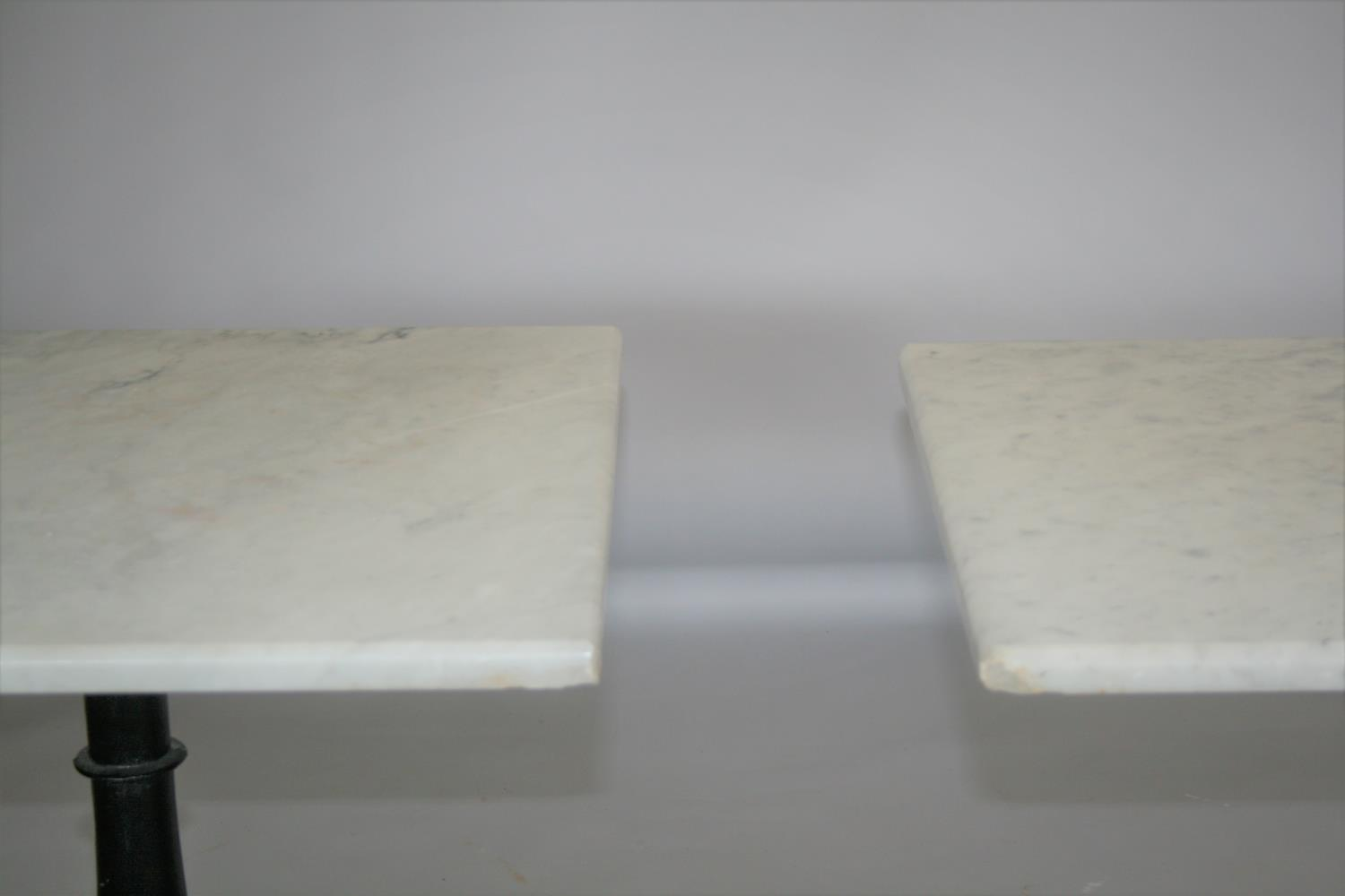 Two quality marble top bar tables (slight damage to marble and slight variation in size) 70 W x 70 H - Image 2 of 3