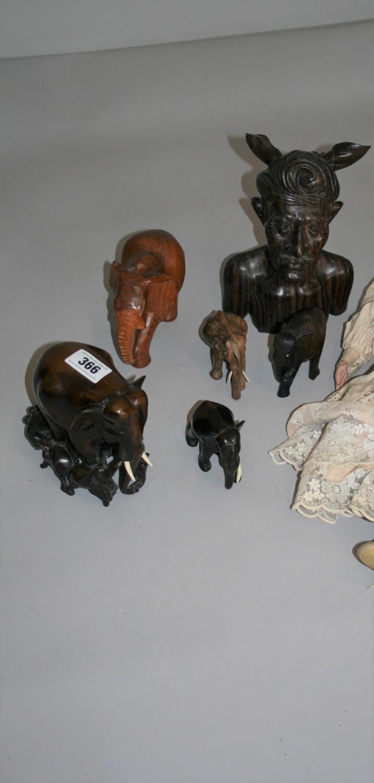 Vintage Doll and selection of hardwood elephants etc. - Image 3 of 4