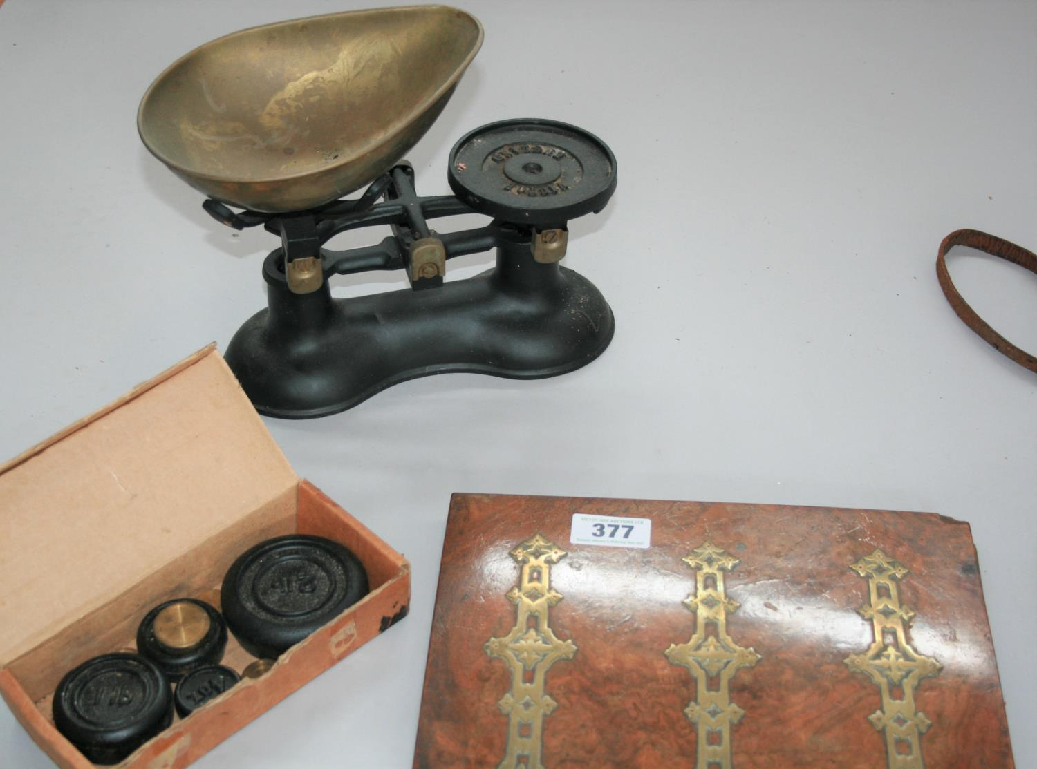 Antique walnut and brass stationary holder, vintage cameras, weighing scales and weights. - Image 3 of 3