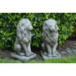 Pair stone seated lions. 27W 61H