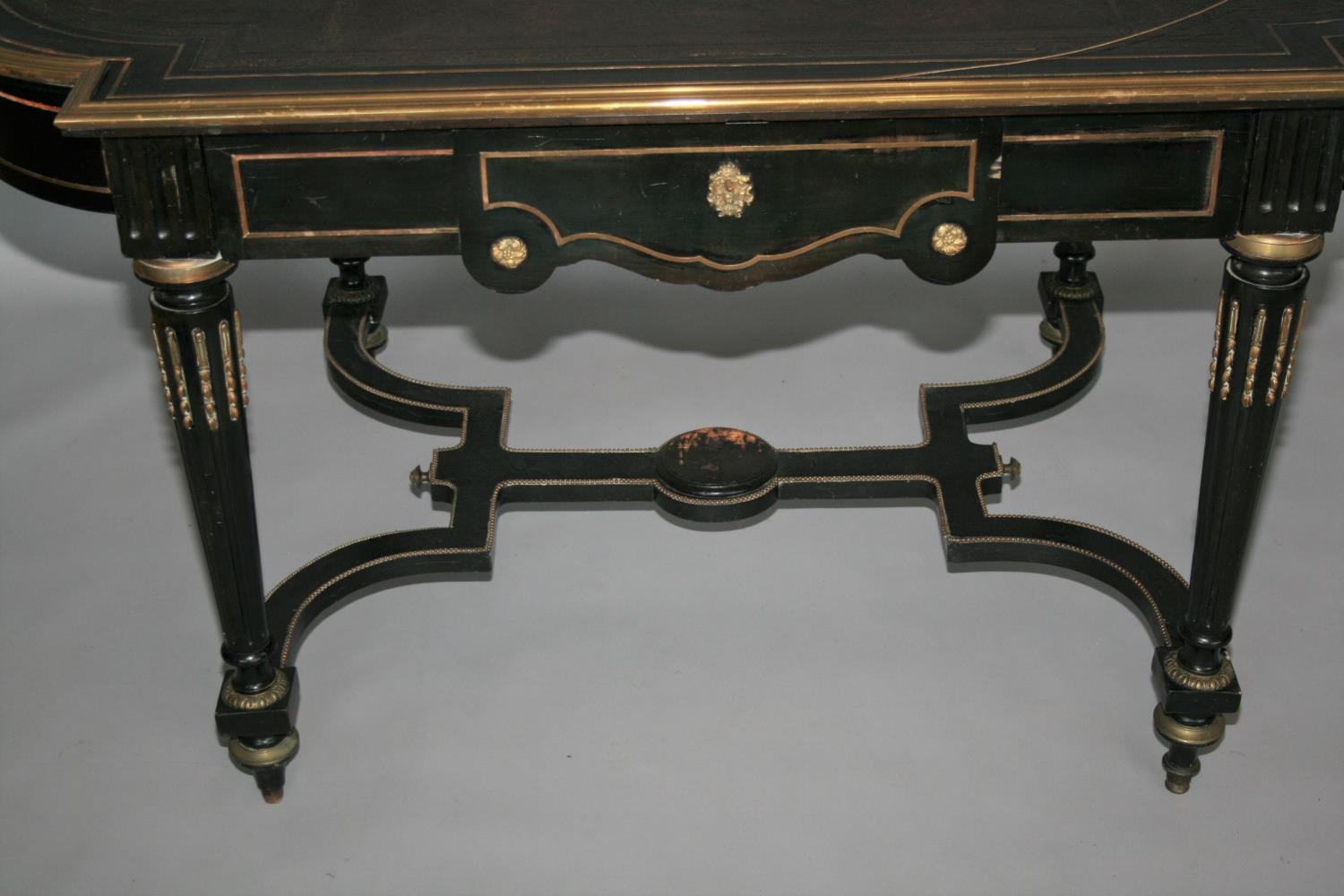 19th Century ebonised and brass mounted centre table with frieze drawer as found 152 W x 76 H x 90 - Image 2 of 3